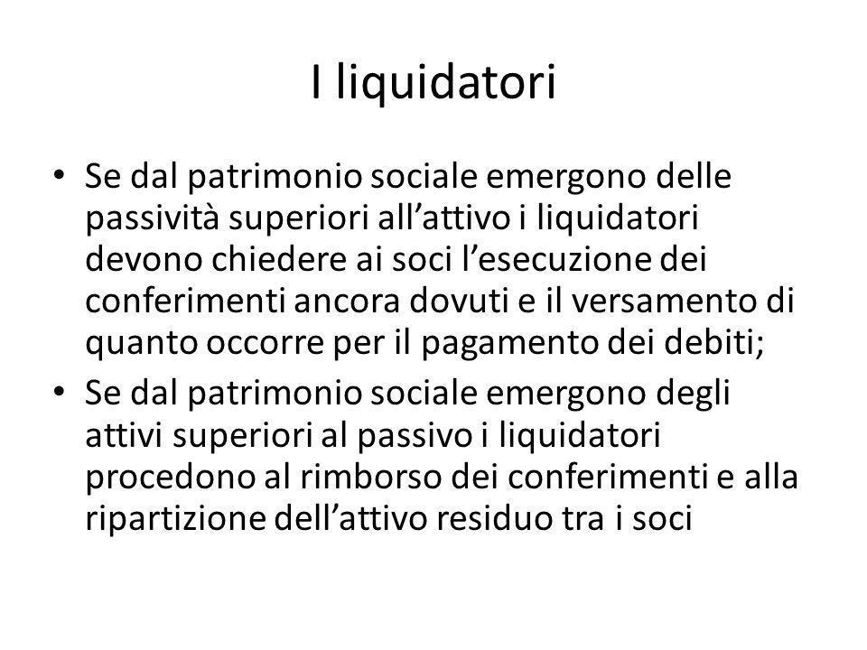 I liquidatori Se dal patrimonio sociale emergono delle passività superiori all'attivo i liquidatori devono chiedere ai soci l'esecuzione dei conferime
