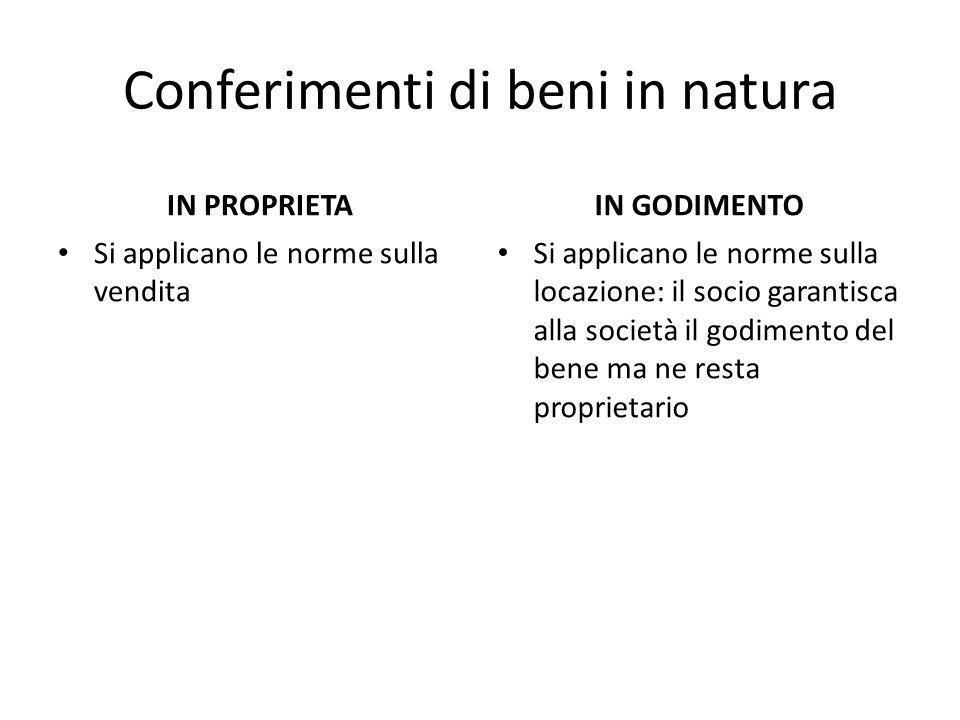Conferimenti di beni in natura IN PROPRIETA Si applicano le norme sulla vendita IN GODIMENTO Si applicano le norme sulla locazione: il socio garantisc