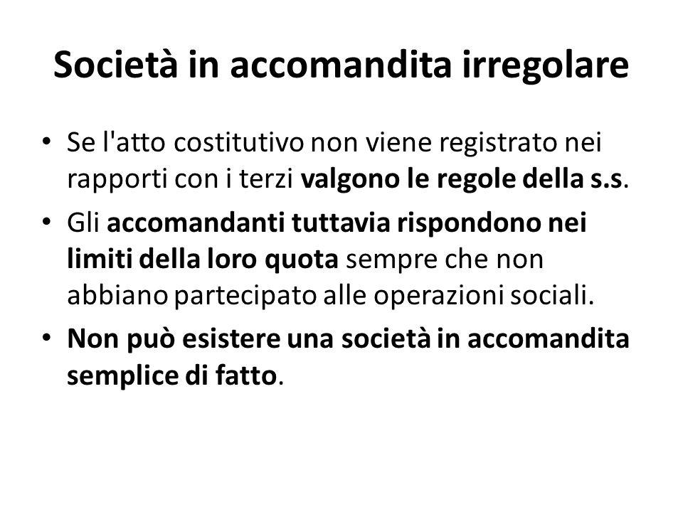 Società in accomandita irregolare Se l atto costitutivo non viene registrato nei rapporti con i terzi valgono le regole della s.s.