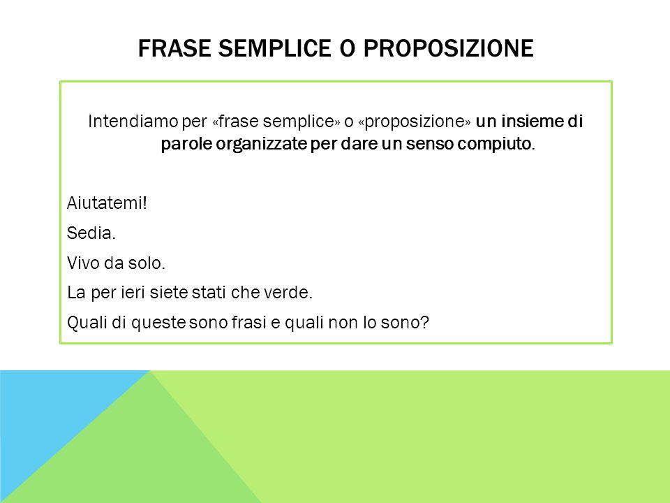 FRASE SEMPLICE O PROPOSIZIONE Intendiamo per «frase semplice» o «proposizione» un insieme di parole organizzate per dare un senso compiuto. Aiutatemi!