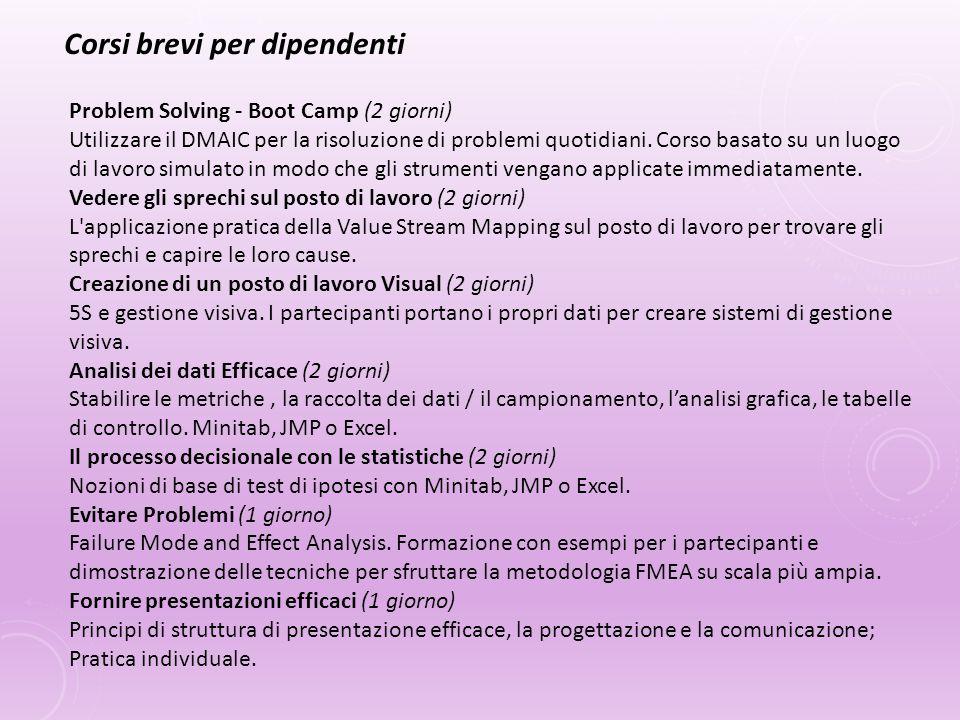 Problem Solving - Boot Camp (2 giorni) Utilizzare il DMAIC per la risoluzione di problemi quotidiani. Corso basato su un luogo di lavoro simulato in m