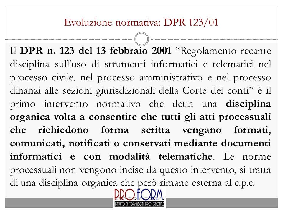 Evoluzione normativa: DPR 123/01 Il DPR n.