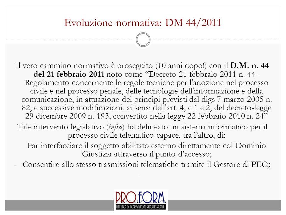 Evoluzione normativa: DM 44/2011 Il vero cammino normativo è proseguito (10 anni dopo!) con il D.M.
