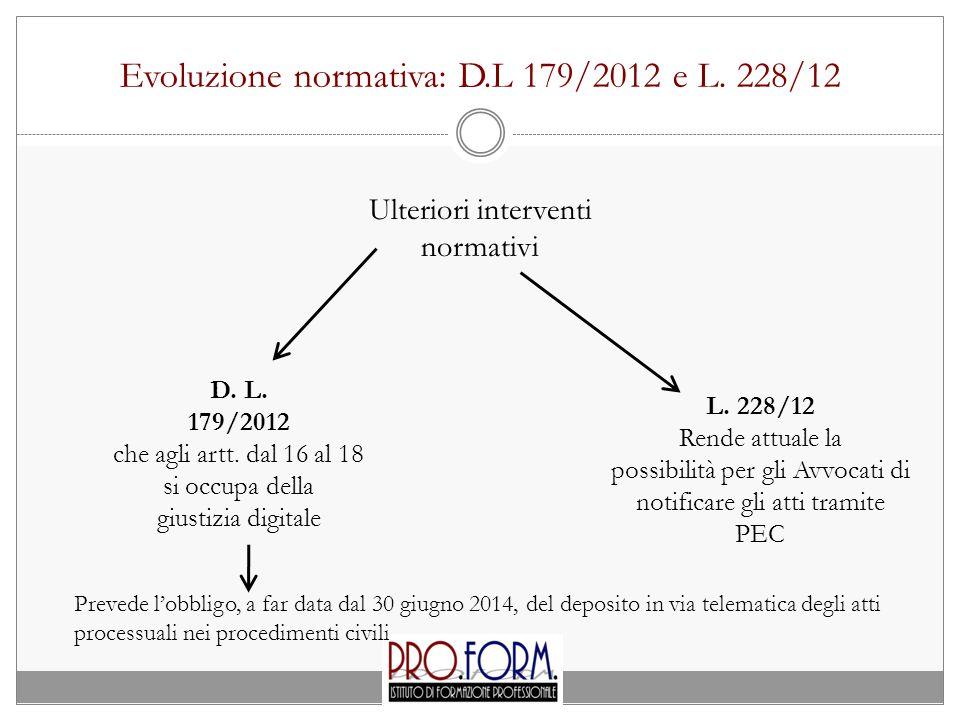 Evoluzione normativa: D.L 179/2012 e L.228/12 D. L.