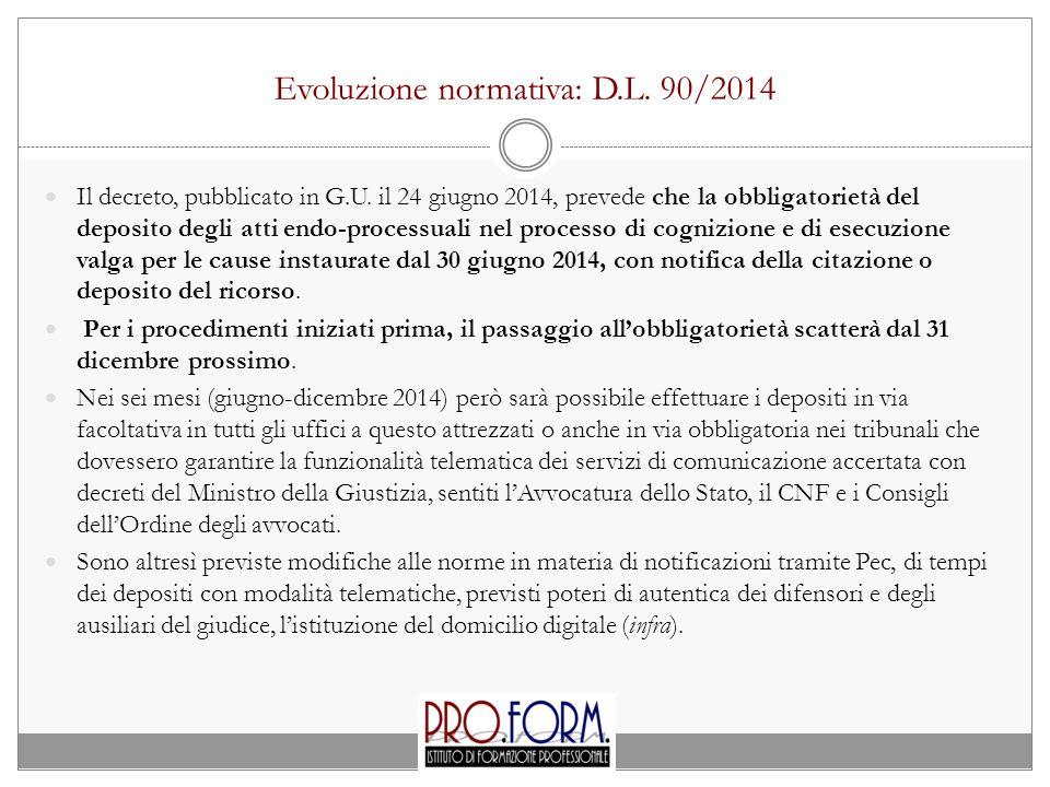 Evoluzione normativa: D.L.90/2014 Il decreto, pubblicato in G.U.