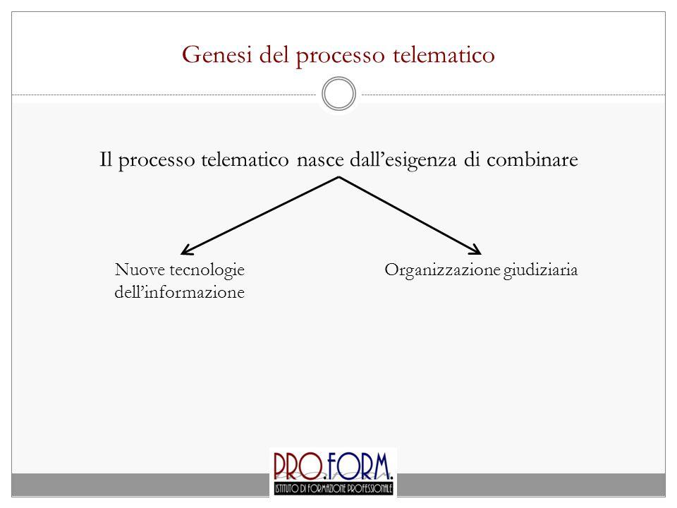 Genesi del processo telematico Il processo telematico nasce dall'esigenza di combinare Nuove tecnologie dell'informazione Organizzazione giudiziaria