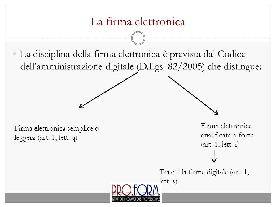 La firma elettronica La disciplina della firma elettronica è prevista dal Codice dell'amministrazione digitale (D.Lgs.