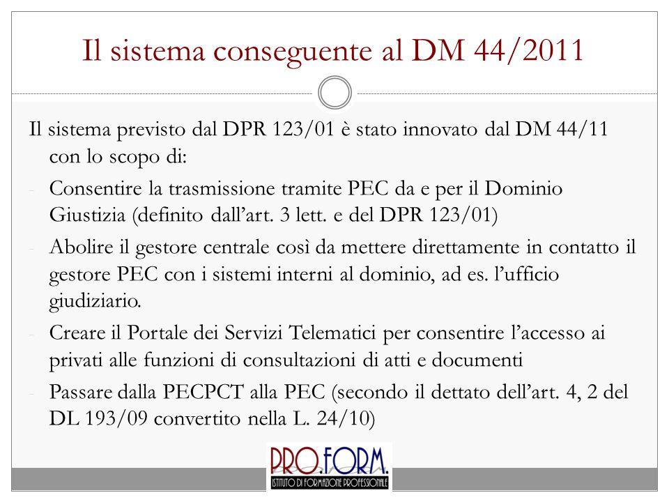 Il sistema conseguente al DM 44/2011 Il sistema previsto dal DPR 123/01 è stato innovato dal DM 44/11 con lo scopo di: - Consentire la trasmissione tramite PEC da e per il Dominio Giustizia (definito dall'art.