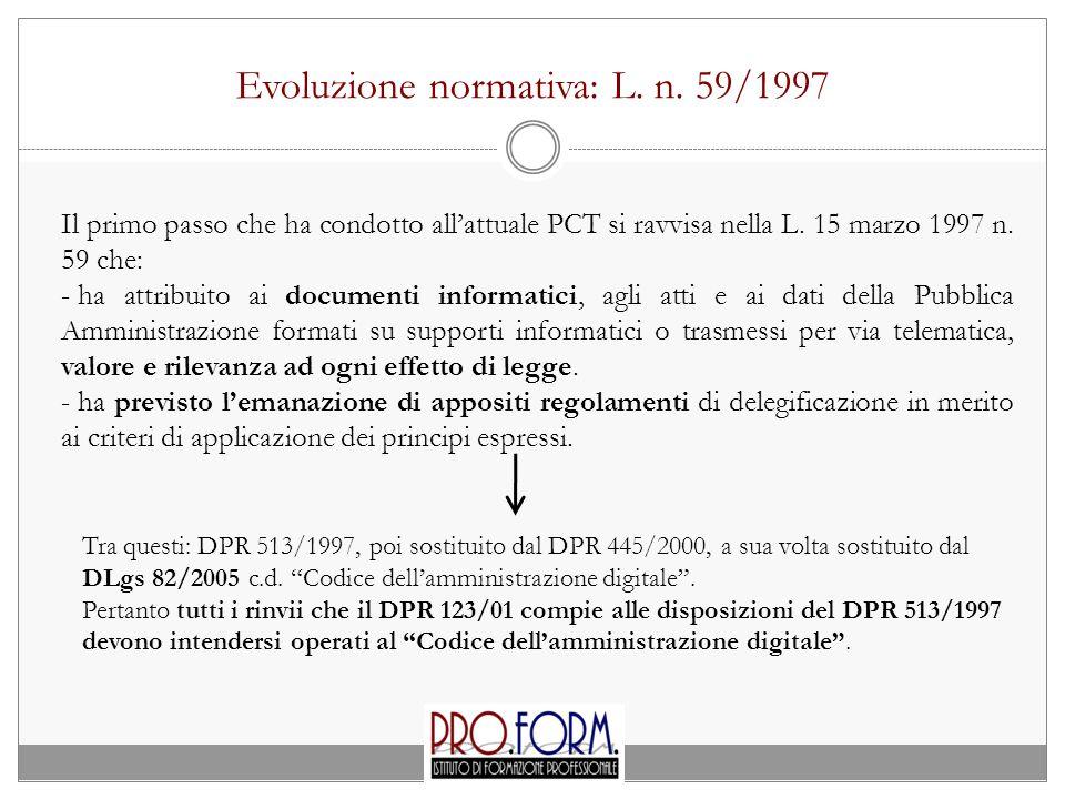 Evoluzione normativa: L.n.