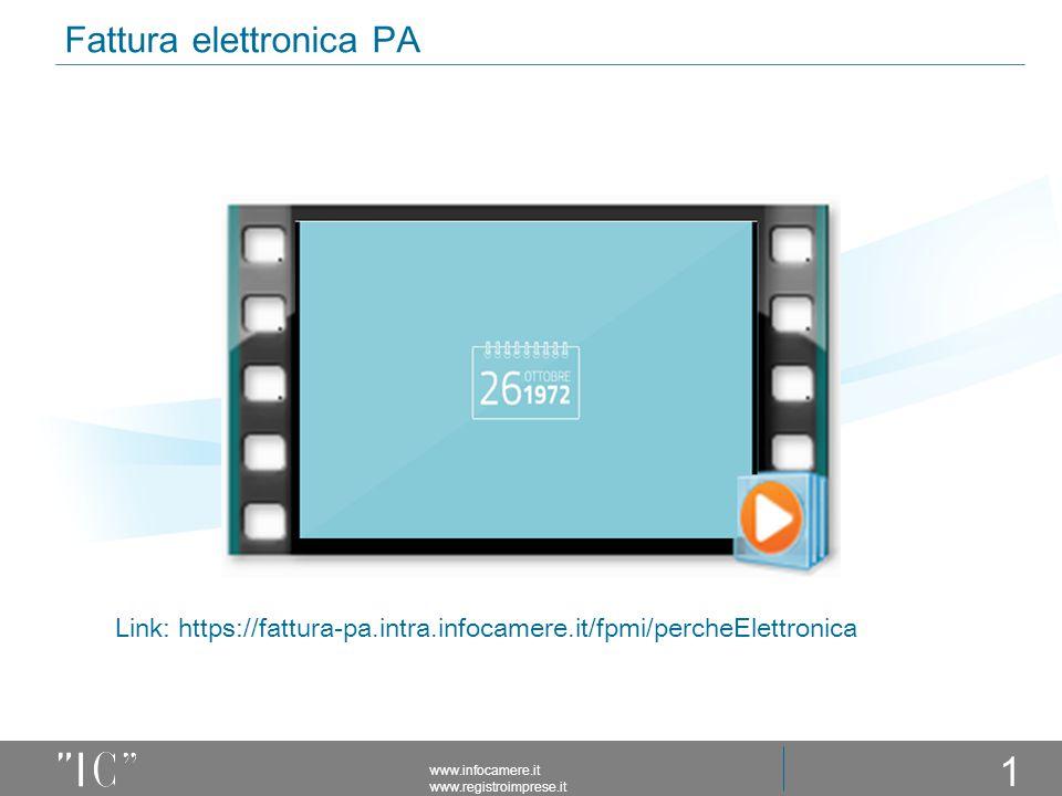 Fattura elettronica PA www.infocamere.it www.registroimprese.it 11 Link: https://fattura-pa.intra.infocamere.it/fpmi/percheElettronica