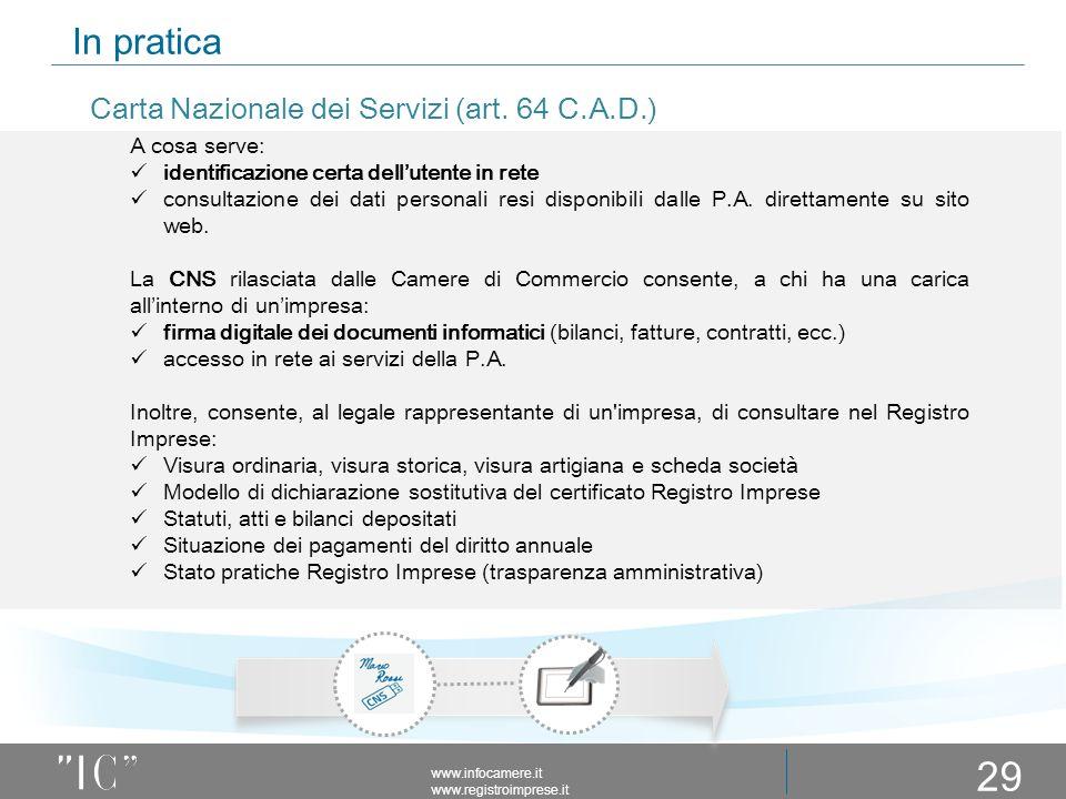 In pratica www.infocamere.it www.registroimprese.it 29 A cosa serve: identificazione certa dell'utente in rete consultazione dei dati personali resi disponibili dalle P.A.