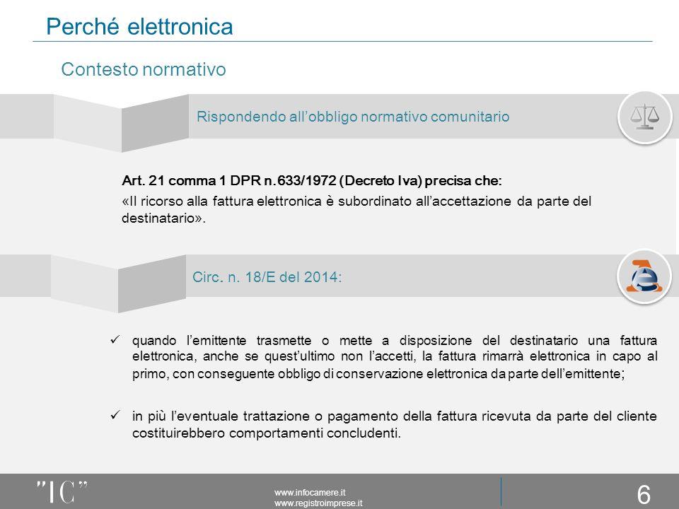 Perché elettronica Rispondendo all'obbligo normativo comunitario www.infocamere.it www.registroimprese.it Contesto normativo Art.