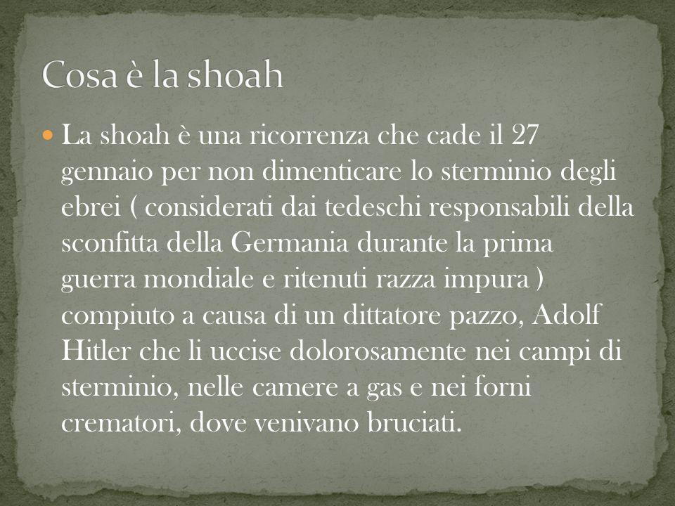 La shoah è una ricorrenza che cade il 27 gennaio per non dimenticare lo sterminio degli ebrei ( considerati dai tedeschi responsabili della sconfitta