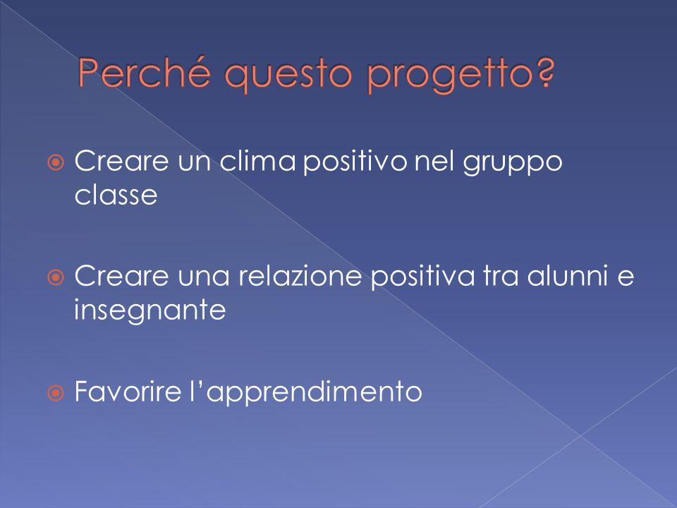  Creare un clima positivo nel gruppo classe  Creare una relazione positiva tra alunni e insegnante  Favorire l'apprendimento