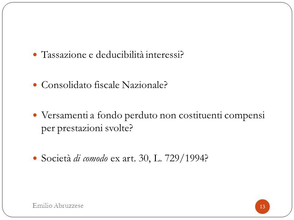 Tassazione e deducibilità interessi. Consolidato fiscale Nazionale.