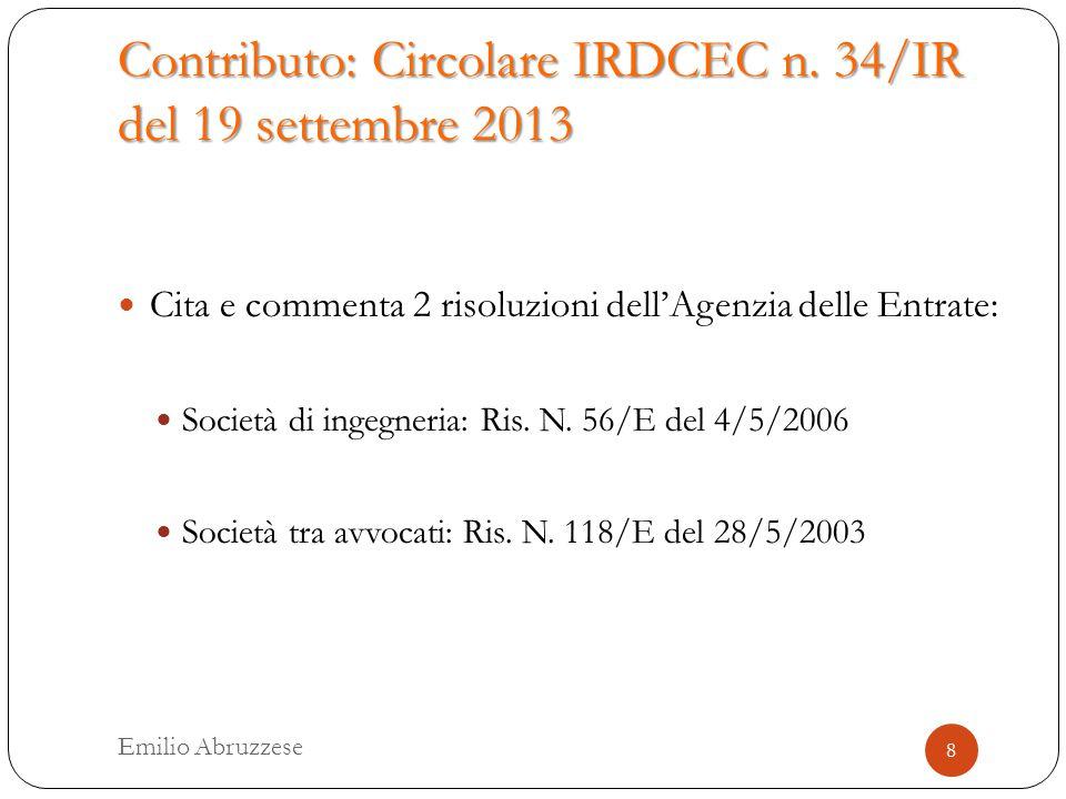 Contributo: Circolare IRDCEC n.