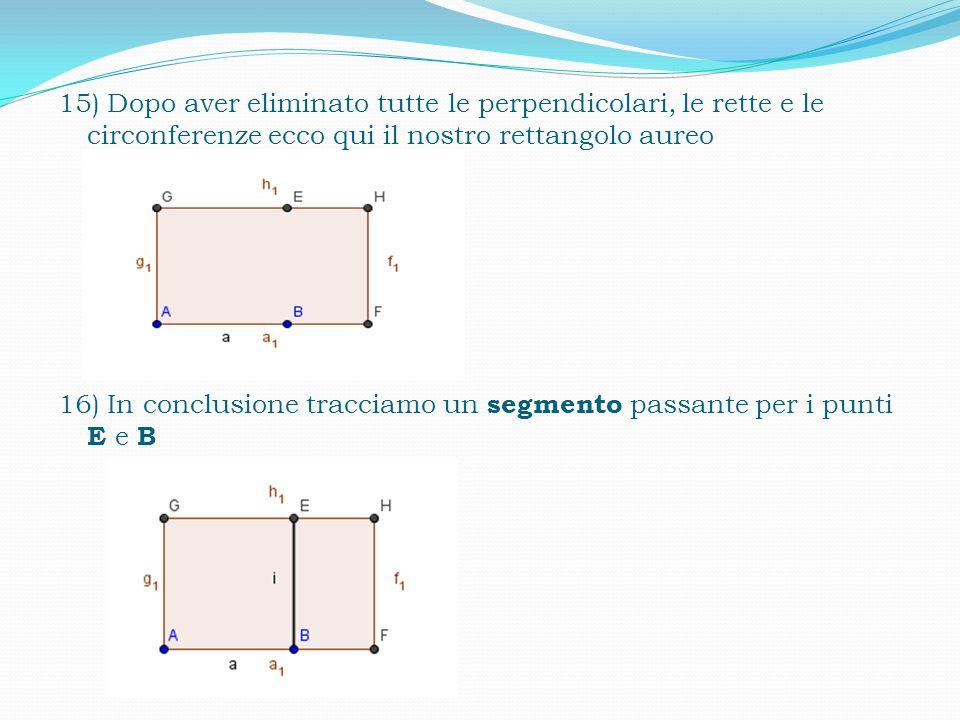 14) Pigiare il tasto destro del mouse e cliccare la funzione mostra oggetto per eliminare tutte le rette, perpendicolari e circonferenze per poi mostrare solo il rettangolo aureo