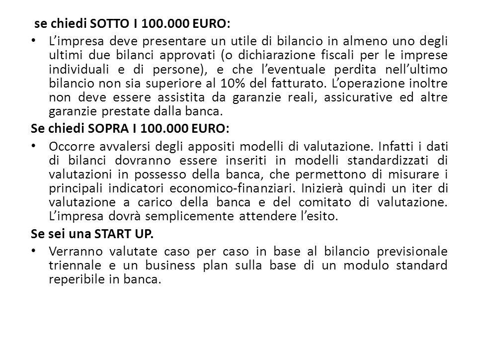 se chiedi SOTTO I 100.000 EURO: L'impresa deve presentare un utile di bilancio in almeno uno degli ultimi due bilanci approvati (o dichiarazione fisca