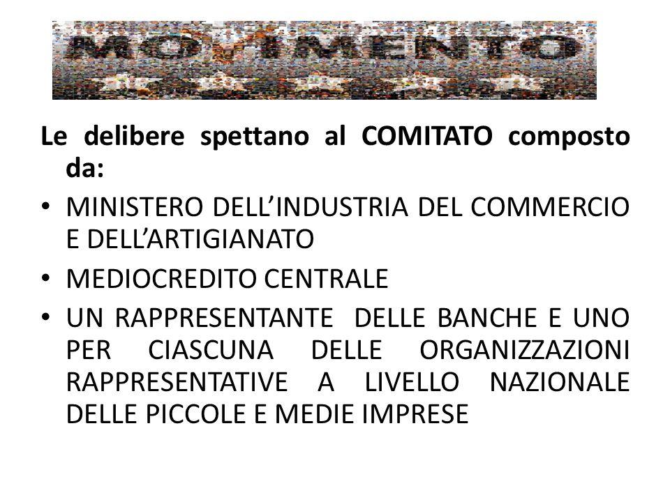 Le delibere spettano al COMITATO composto da: MINISTERO DELL'INDUSTRIA DEL COMMERCIO E DELL'ARTIGIANATO MEDIOCREDITO CENTRALE UN RAPPRESENTANTE DELLE