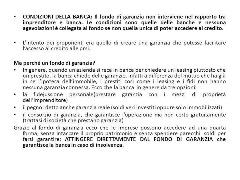 CONDIZIONI DELLA BANCA: Il fondo di garanzia non interviene nel rapporto tra imprenditore e banca. Le condizioni sono quelle delle banche e nessuna ag