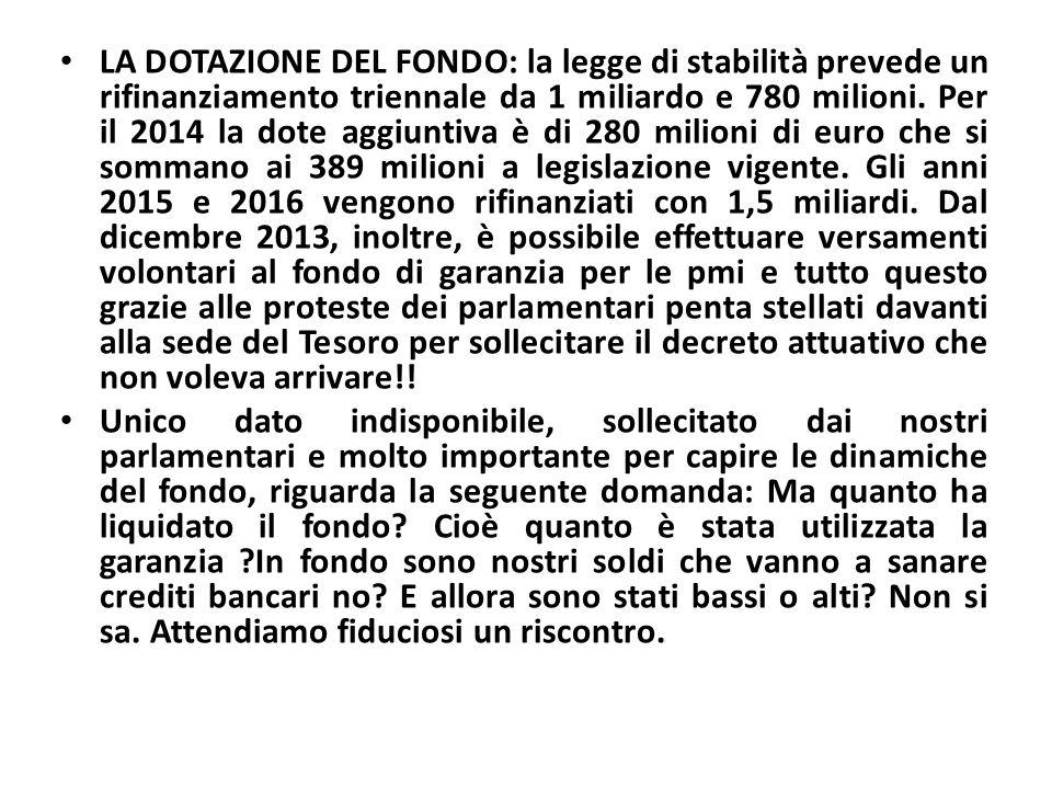 LA DOTAZIONE DEL FONDO: la legge di stabilità prevede un rifinanziamento triennale da 1 miliardo e 780 milioni. Per il 2014 la dote aggiuntiva è di 28