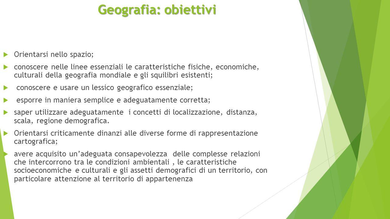 Geografia: obiettivi  Orientarsi nello spazio;  conoscere nelle linee essenziali le caratteristiche fisiche, economiche, culturali della geografia m