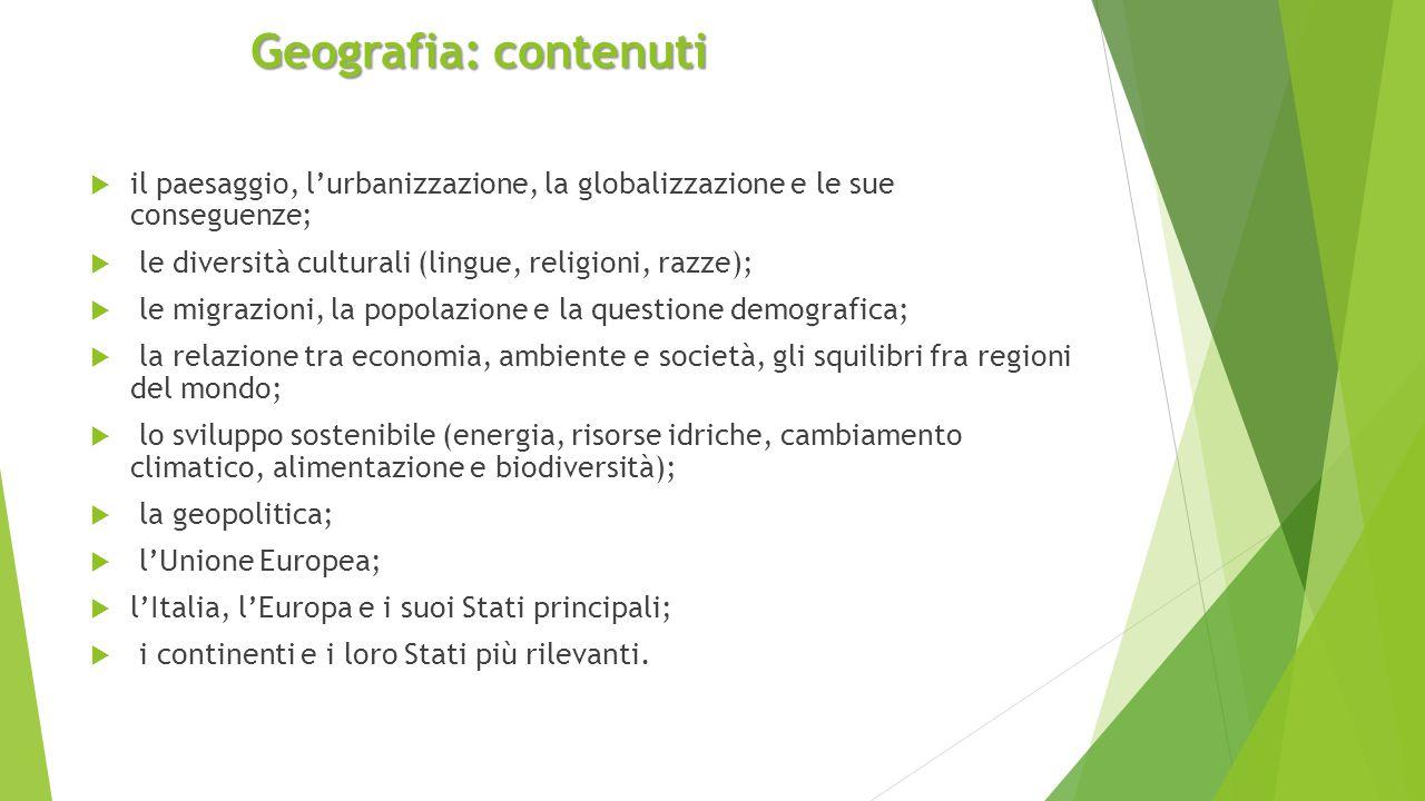 Geografia: contenuti  il paesaggio, l'urbanizzazione, la globalizzazione e le sue conseguenze;  le diversità culturali (lingue, religioni, razze); 