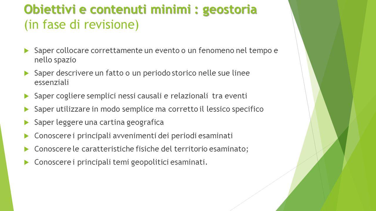 Obiettivi e contenuti minimi : geostoria Obiettivi e contenuti minimi : geostoria (in fase di revisione)  Saper collocare correttamente un evento o u