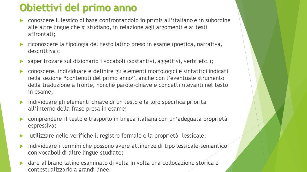 Obiettivi del primo anno  conoscere il lessico di base confrontandolo in primis all'italiano e in subordine alle altre lingue che si studiano, in rel