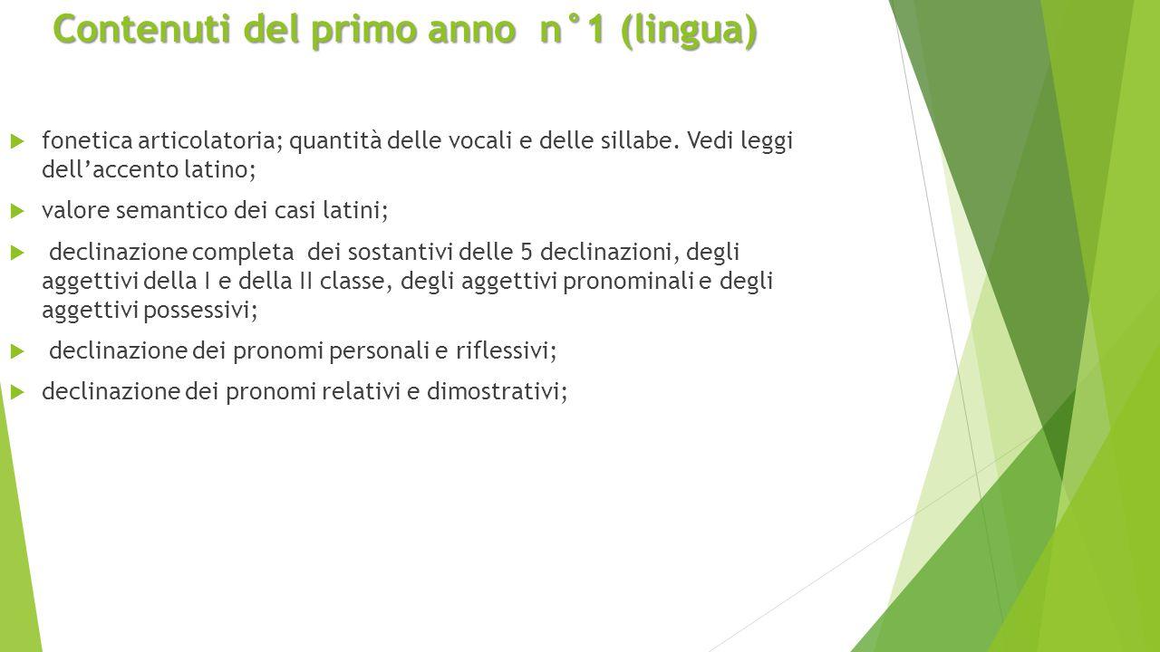 Contenuti del primo anno n°1 (lingua)  fonetica articolatoria; quantità delle vocali e delle sillabe.
