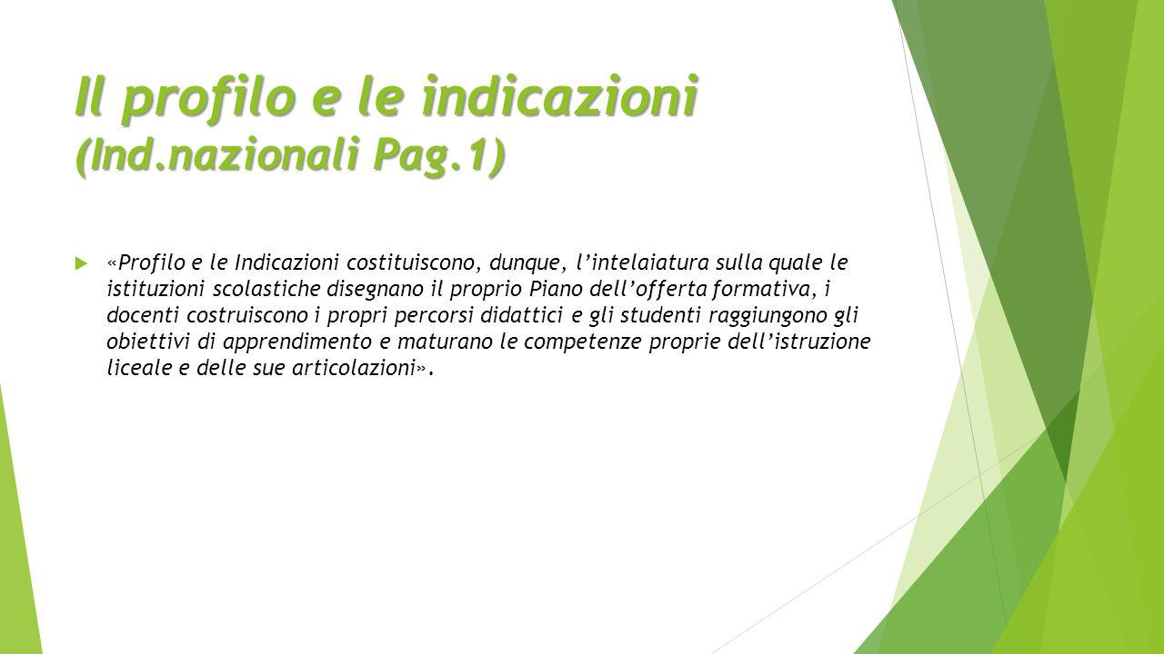 Il profilo e le indicazioni (Ind.nazionali Pag.1)  «Profilo e le Indicazioni costituiscono, dunque, l'intelaiatura sulla quale le istituzioni scolast
