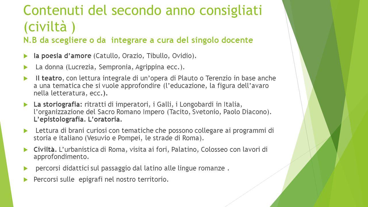 Contenuti del secondo anno consigliati (civiltà ) N.B da scegliere o da integrare a cura del singolo docente  la poesia d'amore (Catullo, Orazio, Tibullo, Ovidio).