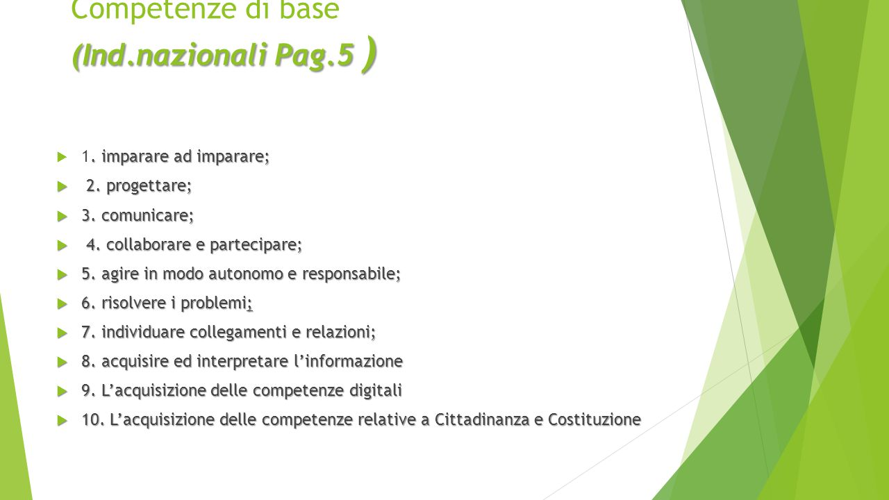 (Ind.nazionali Pag.5 ) Competenze di base (Ind.nazionali Pag.5 ). imparare ad imparare;  1. imparare ad imparare;  2. progettare;  3. comunicare; 