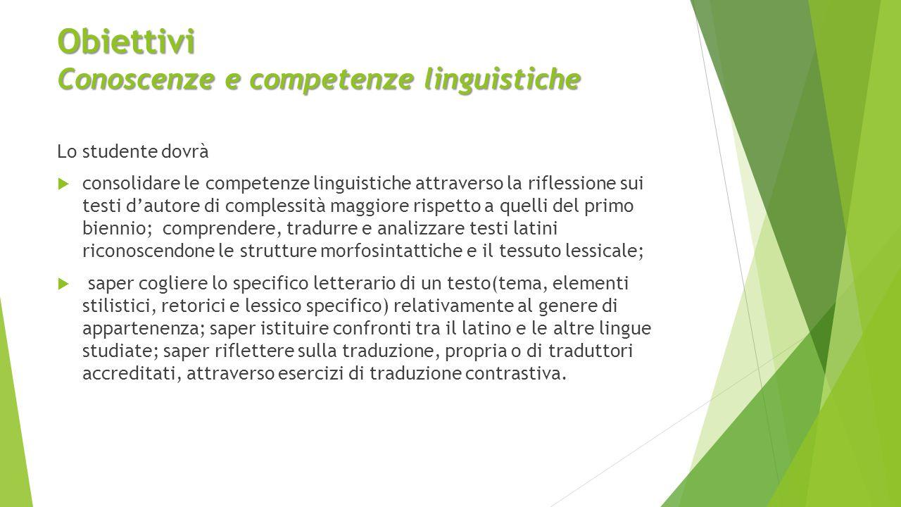 Obiettivi Conoscenze e competenze linguistiche Lo studente dovrà  consolidare le competenze linguistiche attraverso la riflessione sui testi d'autore