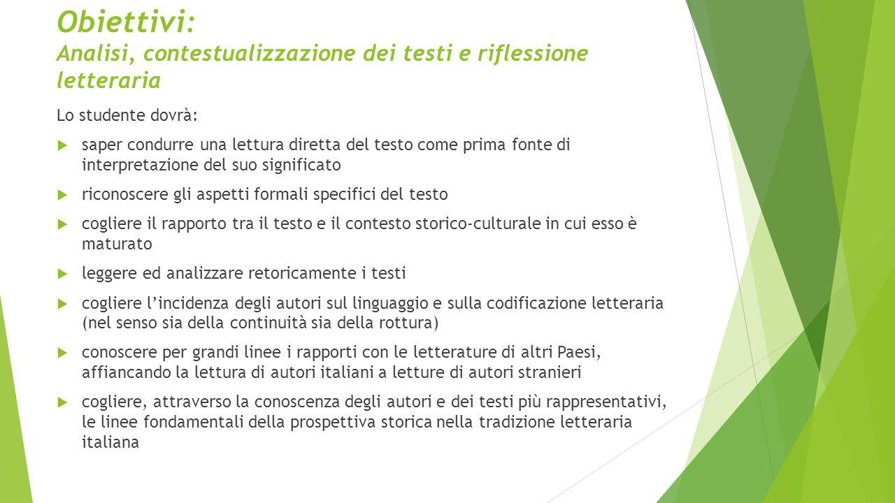 Obiettivi: Analisi, contestualizzazione dei testi e riflessione letteraria Lo studente dovrà:  saper condurre una lettura diretta del testo come prim