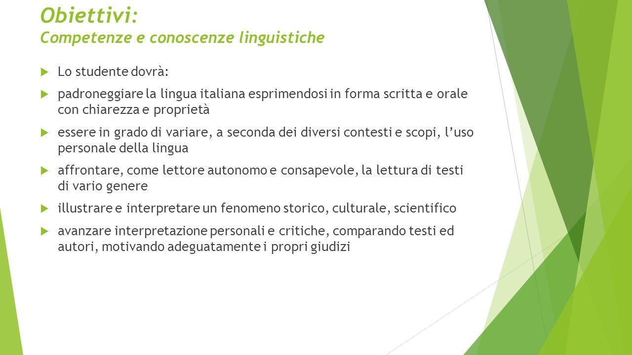 Obiettivi: Competenze e conoscenze linguistiche  Lo studente dovrà:  padroneggiare la lingua italiana esprimendosi in forma scritta e orale con chia