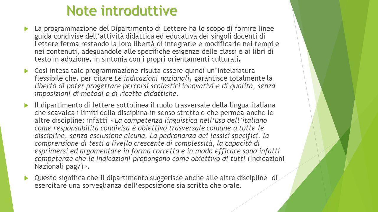 Note introduttive  La programmazione del Dipartimento di Lettere ha lo scopo di fornire linee guida condivise dell'attività didattica ed educativa de