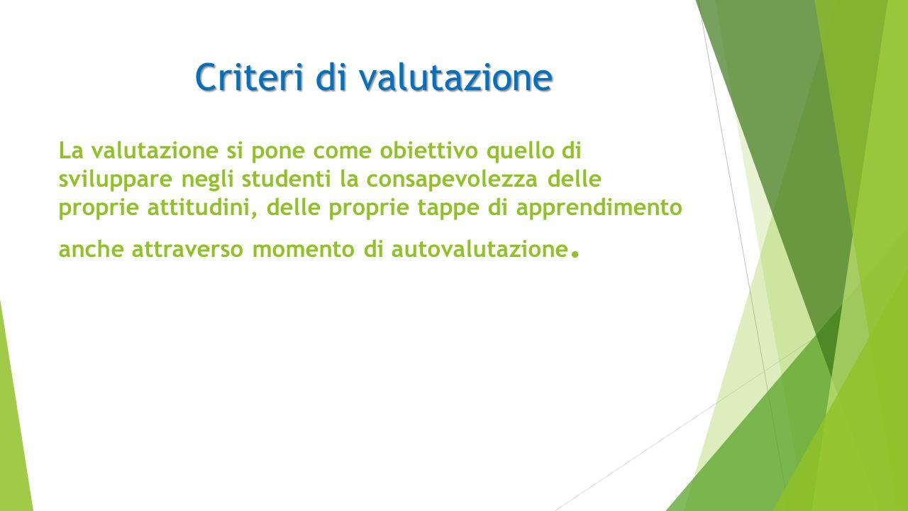 Criteri di valutazione Criteri di valutazione La valutazione si pone come obiettivo quello di sviluppare negli studenti la consapevolezza delle proprie attitudini, delle proprie tappe di apprendimento anche attraverso momento di autovalutazione.