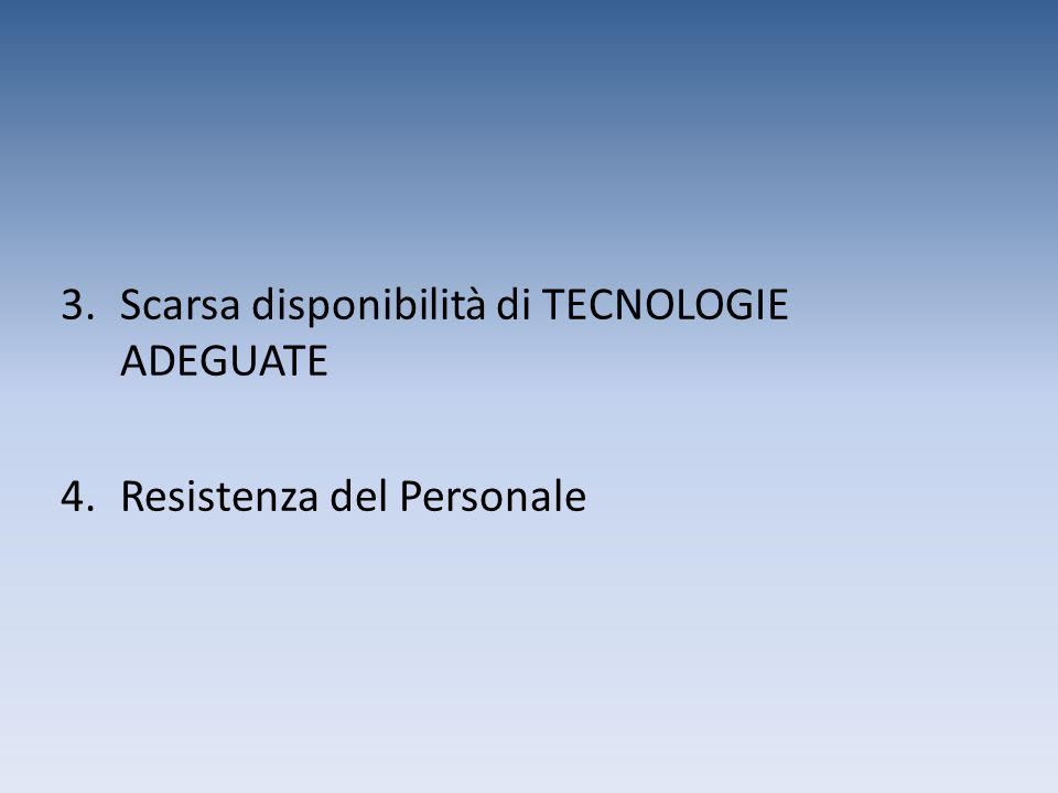 3.Scarsa disponibilità di TECNOLOGIE ADEGUATE 4.Resistenza del Personale