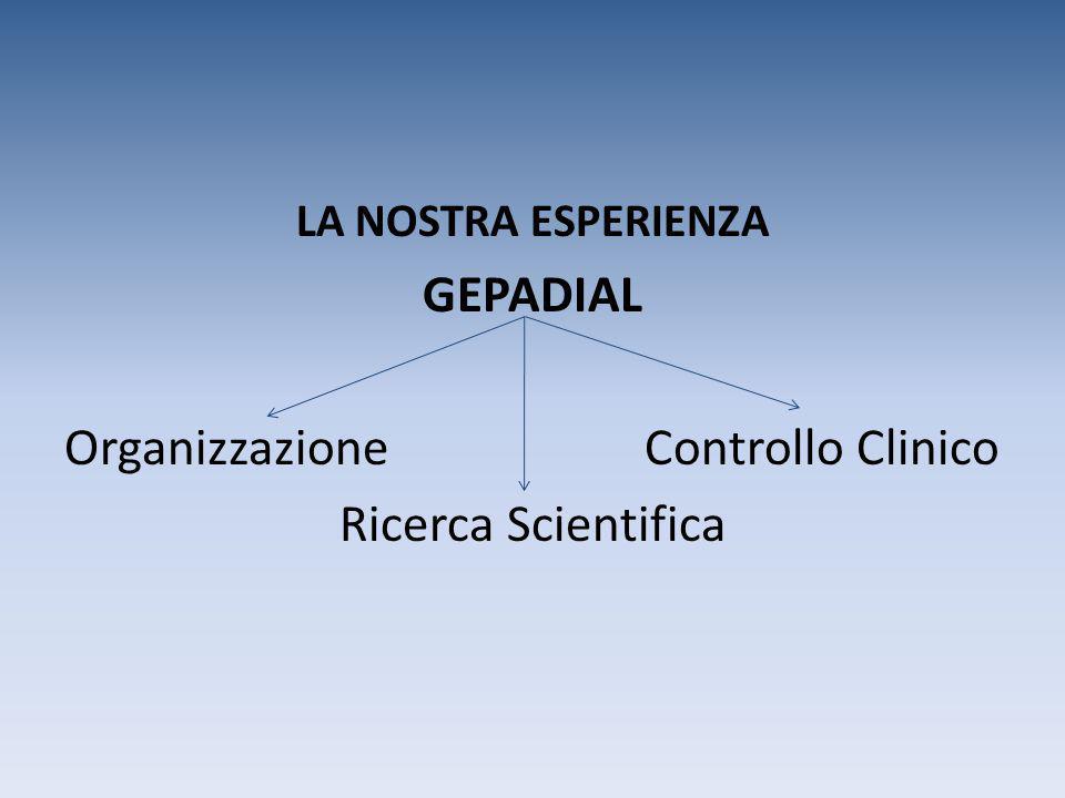 LA NOSTRA ESPERIENZA GEPADIAL Organizzazione Controllo Clinico Ricerca Scientifica