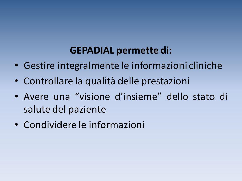 """GEPADIAL permette di: Gestire integralmente le informazioni cliniche Controllare la qualità delle prestazioni Avere una """"visione d'insieme"""" dello stat"""