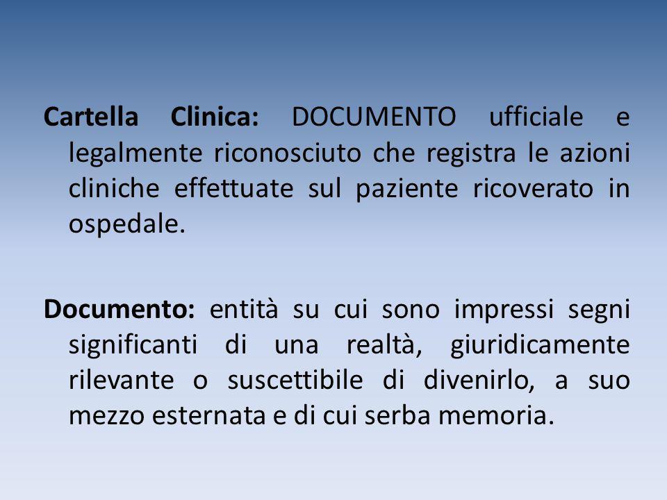 Cartella Clinica: DOCUMENTO ufficiale e legalmente riconosciuto che registra le azioni cliniche effettuate sul paziente ricoverato in ospedale. Docume