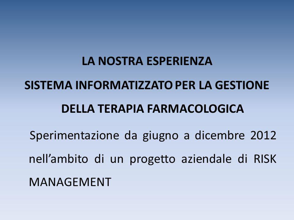 LA NOSTRA ESPERIENZA SISTEMA INFORMATIZZATO PER LA GESTIONE DELLA TERAPIA FARMACOLOGICA Sperimentazione da giugno a dicembre 2012 nell'ambito di un pr