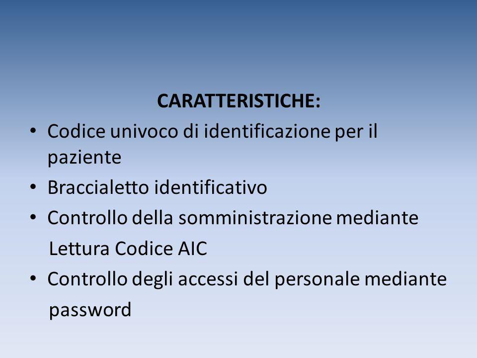 CARATTERISTICHE: Codice univoco di identificazione per il paziente Braccialetto identificativo Controllo della somministrazione mediante Lettura Codic