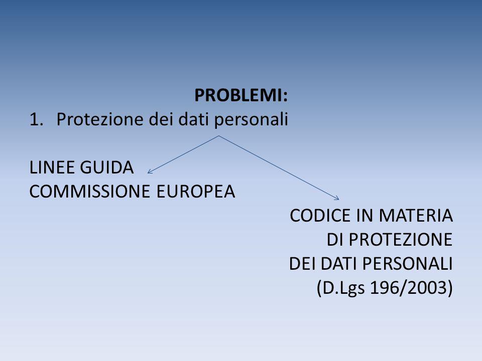 PROBLEMI: 1.Protezione dei dati personali LINEE GUIDA COMMISSIONE EUROPEA CODICE IN MATERIA DI PROTEZIONE DEI DATI PERSONALI (D.Lgs 196/2003)