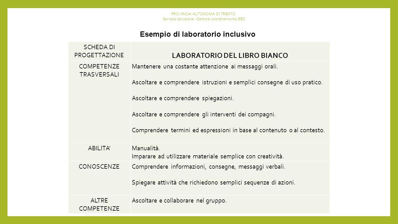 Esempio di laboratorio inclusivo SCHEDA DI PROGETTAZIONE LABORATORIO DEL LIBRO BIANCO COMPETENZE TRASVERSALI Mantenere una costante attenzione ai messaggi orali.