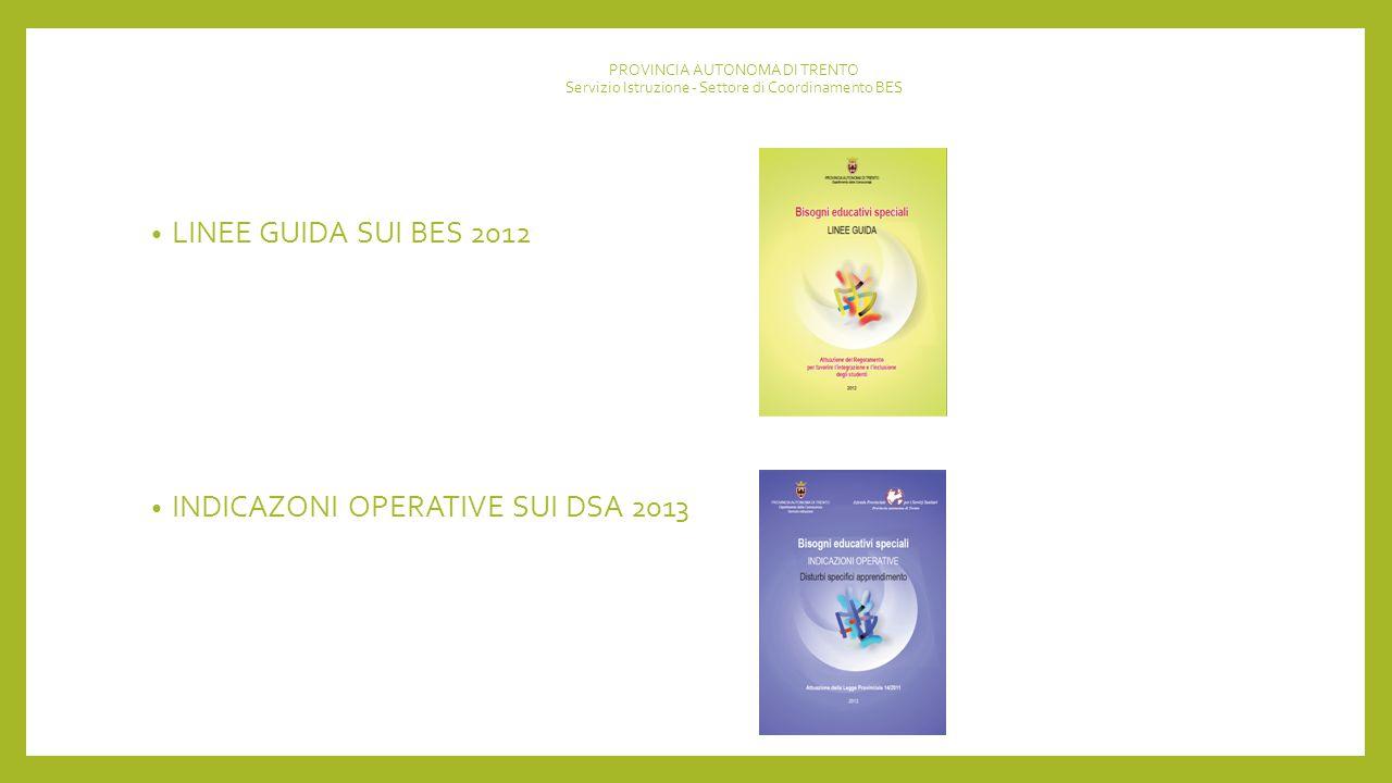 PROVINCIA AUTONOMA DI TRENTO Servizio Istruzione - Settore di Coordinamento BES LINEE GUIDA SUI BES 2012 INDICAZONI OPERATIVE SUI DSA 2013