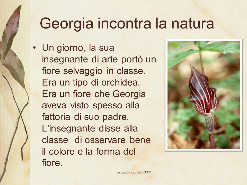 Georgia incontra la natura Un giorno, la sua insegnante di arte portò un fiore selvaggio in classe. Era un tipo di orchidea. Era un fiore che Georgia