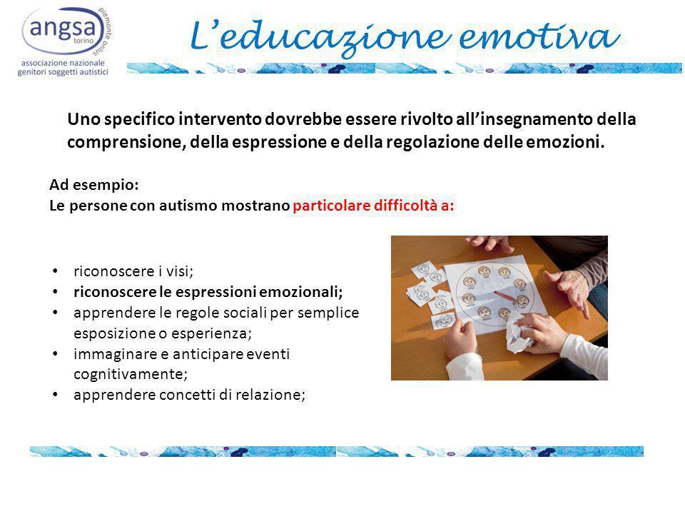 L'educazione emotiva Uno specifico intervento dovrebbe essere rivolto all'insegnamento della comprensione, della espressione e della regolazione delle emozioni.