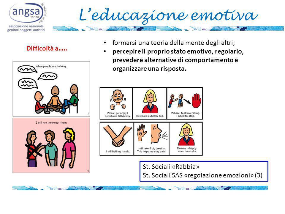 L'educazione emotiva formarsi una teoria della mente degli altri; percepire il proprio stato emotivo, regolarlo, prevedere alternative di comportament